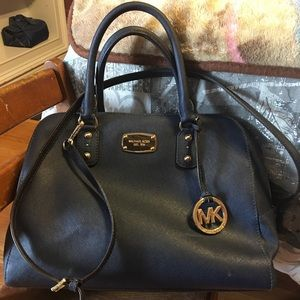Michael Kors Saffiano Leather Satchel Purse Navy